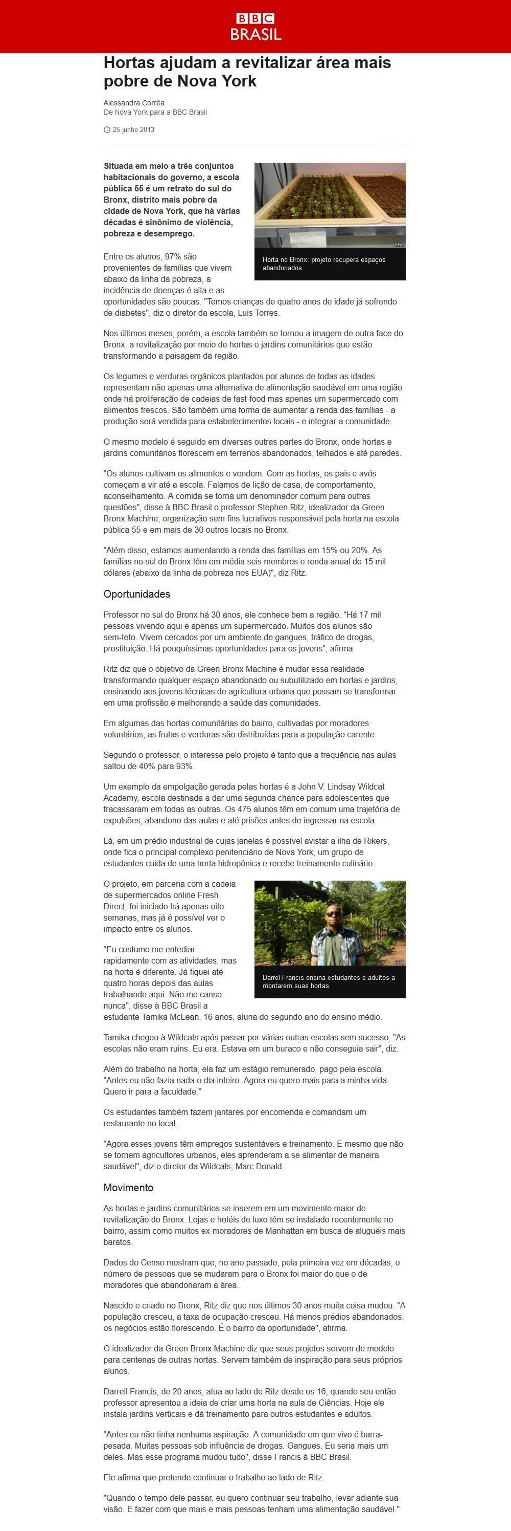 BBC Brazil - Hortas ajudam a revitalizar área mais pobre de Nova York