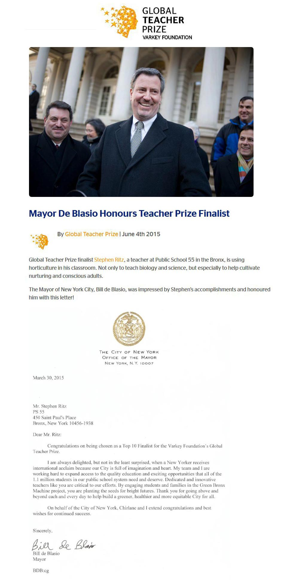 Global Teacher Prize - Mayor De Blasio Honours Teacher Prize Finalist