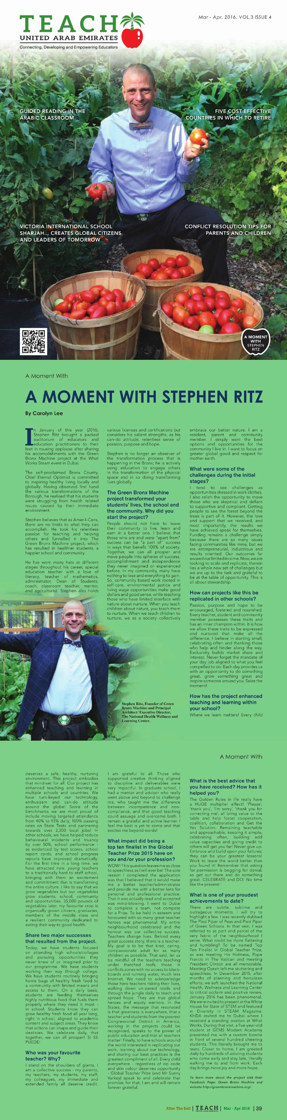 Teach UAE Magazine - A Moment with Stephen Ritz