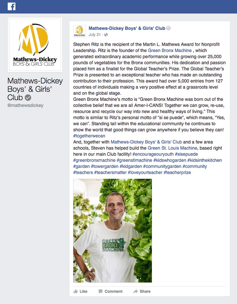 Mathews Dickey Facebook - Stephen Ritz is the recipient of the Martin L. Mathews Award for Nonprofit Leadership