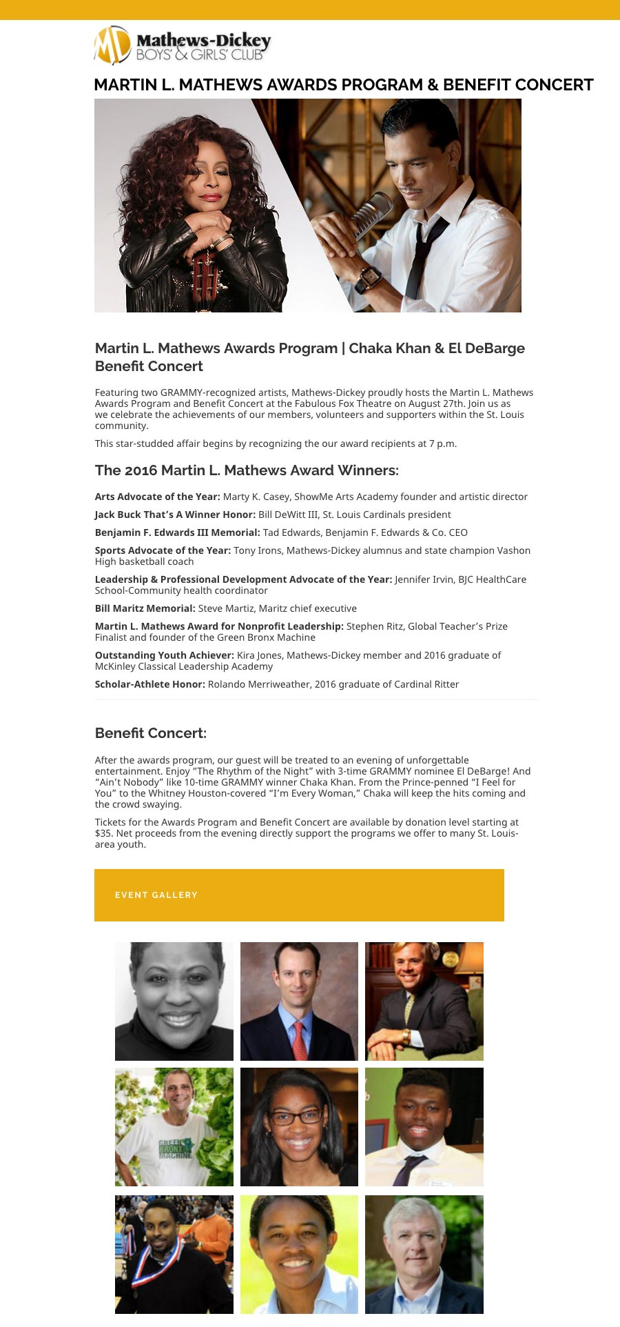 Martin L. Mathews Awards Program & Benefit Concert