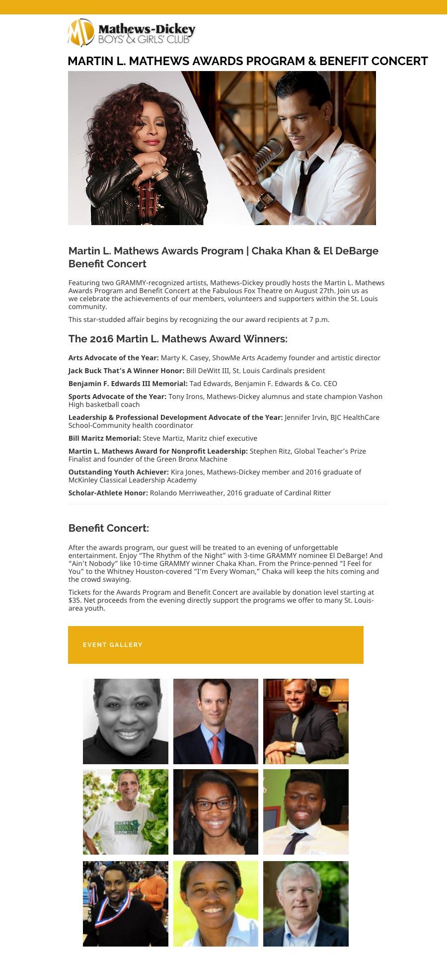 Martin L. Mathews Awards Program & Benefit Concert
